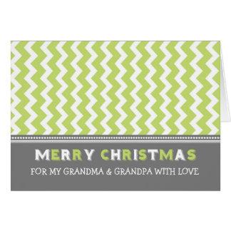 Chevron Green Grandparents Merry Christmas Card