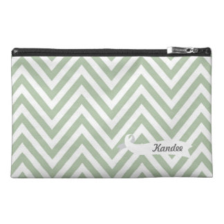 Chevron Green Pattern Designer Name Make Up Bag! Travel Accessories Bag