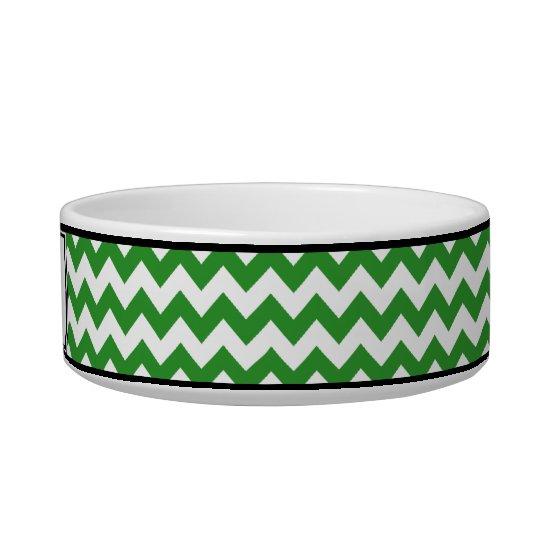 Chevron Green Personalised Cat Bowl