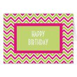 Chevron green & pink zigzag birthday card