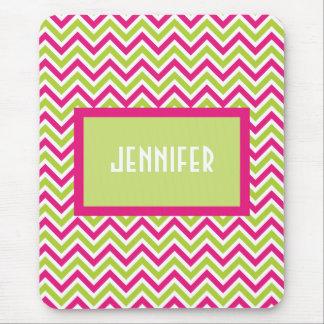 Chevron green pink zigzag funky custom girls  name mouse pad