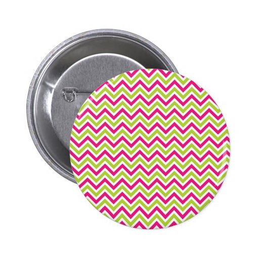 Chevron green & pink zigzag pattern colorful fun pinback button