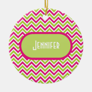 Chevron green pink zigzag pattern custom girl name christmas ornament