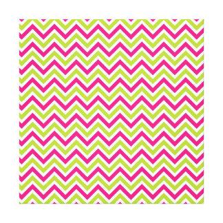 Chevron green pink zigzag pattern funky fun bright stretched canvas print