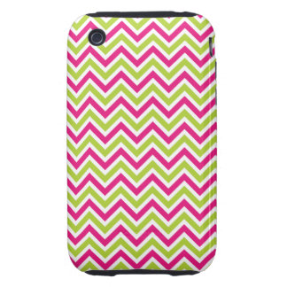 Chevron green pink zigzag pattern funky fun bright iPhone 3 tough cover