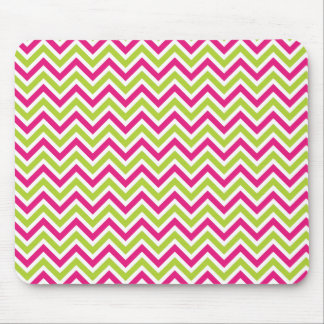 Chevron green pink zigzag pattern funky fun bright mouse pad