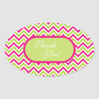 Chevron green & pink zigzag pattern thank you oval sticker