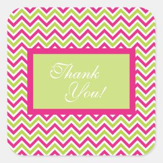 Chevron green & pink zigzag pattern thank you square sticker