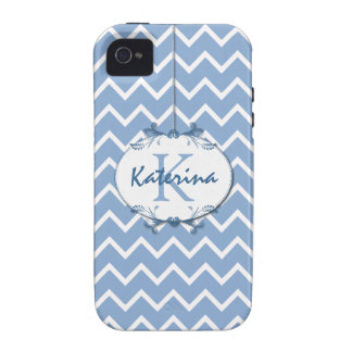 Chevron in Polo Blue and White with Floral Frame Case-Mate iPhone 4 Covers