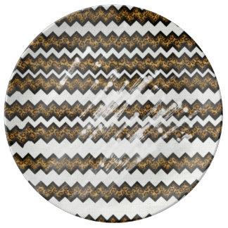 chevron leopard print plate