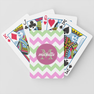 Chevron Light Pink Green Monogram Circle Stitches Bicycle Playing Cards