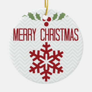 Chevron Merry Christmas Mistletoe Christmas Ornament