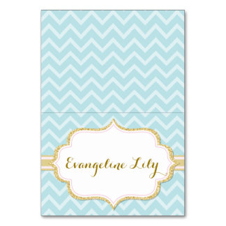 Chevron Mint and Gold Tent Table Card