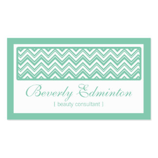 Chevron Mint Beauty Consultant Business Card