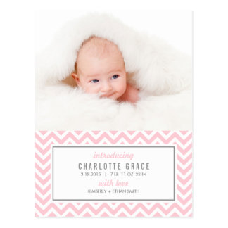CHEVRON Modern Birth Announcement Postcard