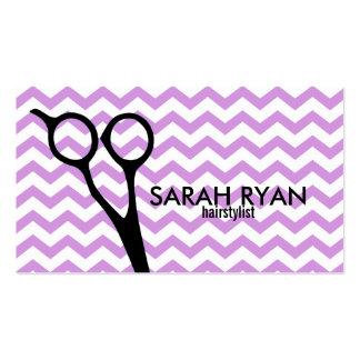 chevron modern hairstylist hair stylist lavender business card