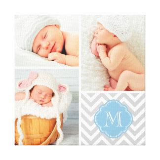 Chevron Monogram Baby Photo Collage Nursery Art Canvas Print