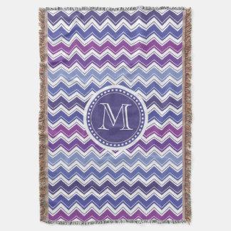 Chevron Monogram Blue and Purple Zigzag