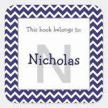 Chevron Monogram Bookplate Sticker navy blue