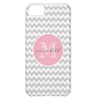 Chevron Monogram Gray and Pink ZigZag iPhone 5C Case
