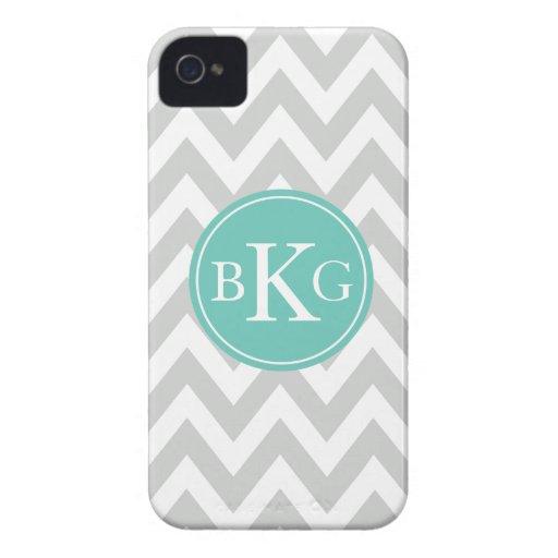 Chevron Monogram   Light Grey Teal iPhone 4 Case-Mate Case
