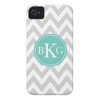 Chevron Monogram | Light Grey Teal Case-Mate iPhone 4 Cases