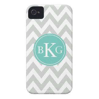 Chevron Monogram   Light Grey Teal iPhone 4 Case