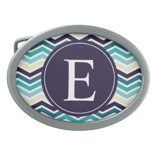 Chevron Monogram Navy Blue Cream Oval Belt Buckles