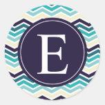Chevron Monogram Navy Blue Cream Stickers
