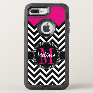 Chevron Monogram Pink Black White OtterBox Defender iPhone 8 Plus/7 Plus Case