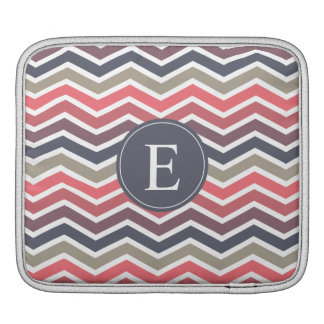 Chevron Monogram Pink Purple Gray iPad Sleeve