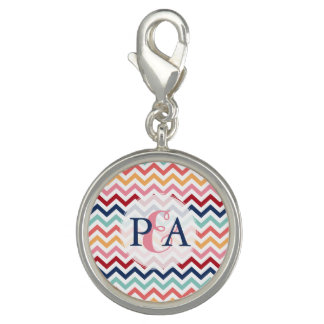 Chevron Monogram Pink Turquoise Blue Red Coral