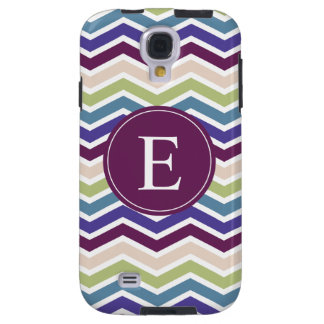 Chevron Monogram Purple Green Cream Galaxy S4 Case