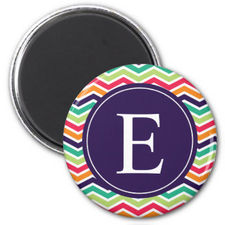 Chevron Monogram Purple Green Pink Orange 6 Cm Round Magnet