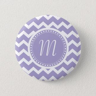 Chevron Monogram Retro Purple and White 6 Cm Round Badge