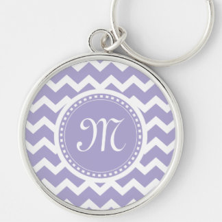 Chevron Monogram Retro Purple and White Key Ring