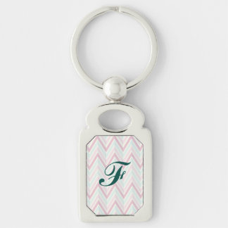 Chevron, multi, color, pastels, zig zag, girly Silver-Colored rectangle key ring