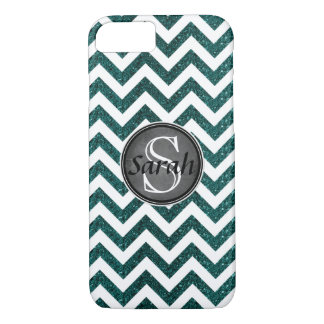 Chevron Nameplate - Emerald Glitter iPhone 8/7 Case