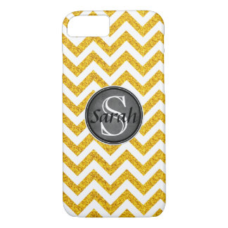 Chevron Nameplate - Gold Glitter iPhone 8/7 Case