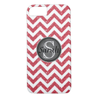 Chevron Nameplate - Pink Glitter iPhone 8/7 Case