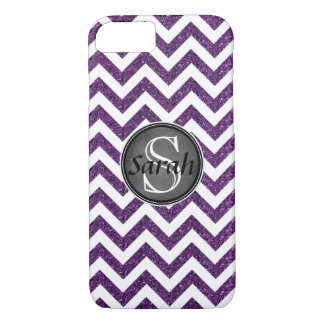 Chevron Nameplate - Purple Glitter iPhone 8/7 Case