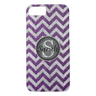 Chevron Nameplate - Purple&Silver Glitter iPhone 8/7 Case