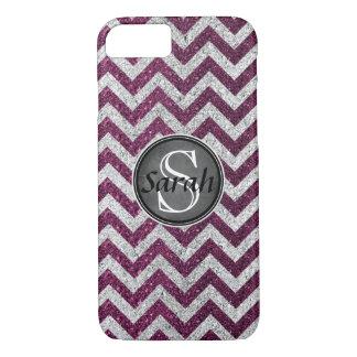 Chevron Nameplate - Raspberry&Silver Glitter iPhone 7 Case