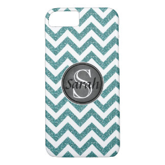 Chevron Nameplate - Teal Glitter iPhone 8/7 Case