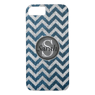 Chevron Nameplate - Teal&Silver Glitter iPhone 8/7 Case