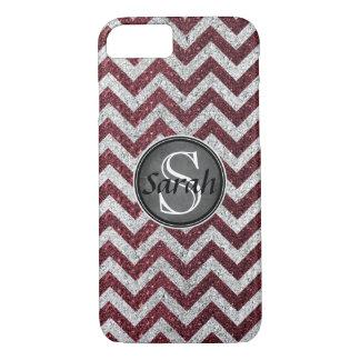 Chevron Nameplate - Wine&Silver Glitter iPhone 8/7 Case