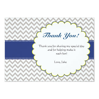 Chevron Navy Blue Baby Shower Thank You Card 13 Cm X 18 Cm Invitation Card
