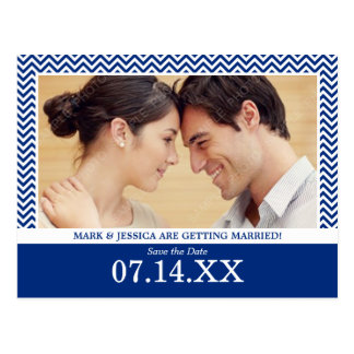 Chevron Navy Blue Photo Save The Date Postcard