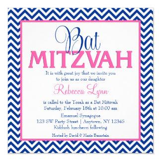 "Chevron Navy Blue Pink Bat Mitzvah Invitation 5.25"" Square Invitation Card"