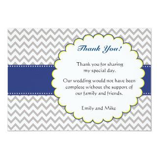 Chevron Navy Blue Thank You Wedding Card